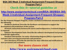 frequent shopper program part i Free essays on bsa385 frequent shopper program part 2 for students use our papers to help you with yours 1 - 30.