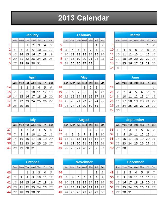 Free Calendar 2013 Powerpoint Template