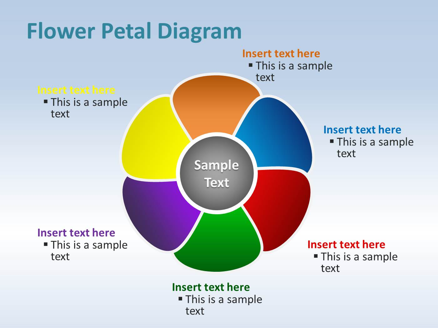 Flower petal diagram for powerpoint powerpoint presentation ppt ccuart Gallery