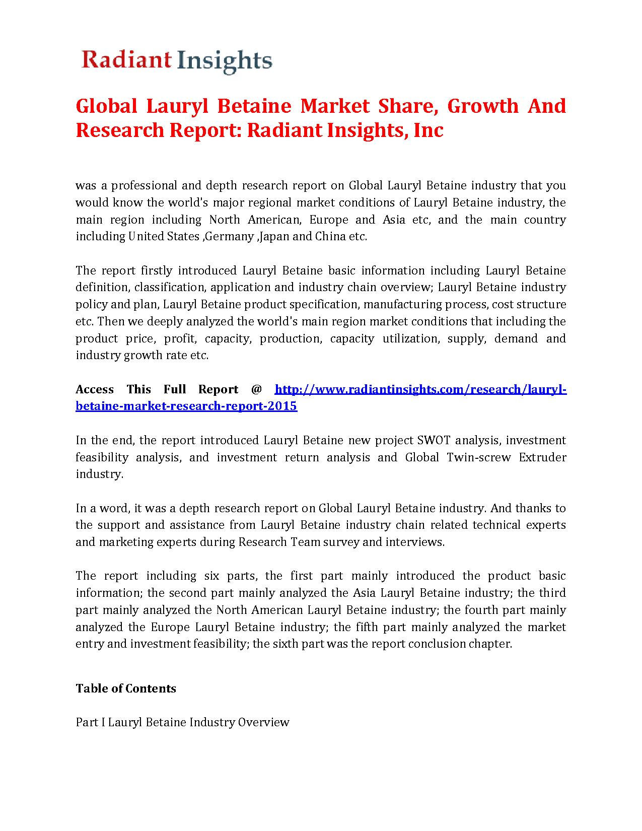 Global Lauryl Betaine Market Size, Competitive Trends Report