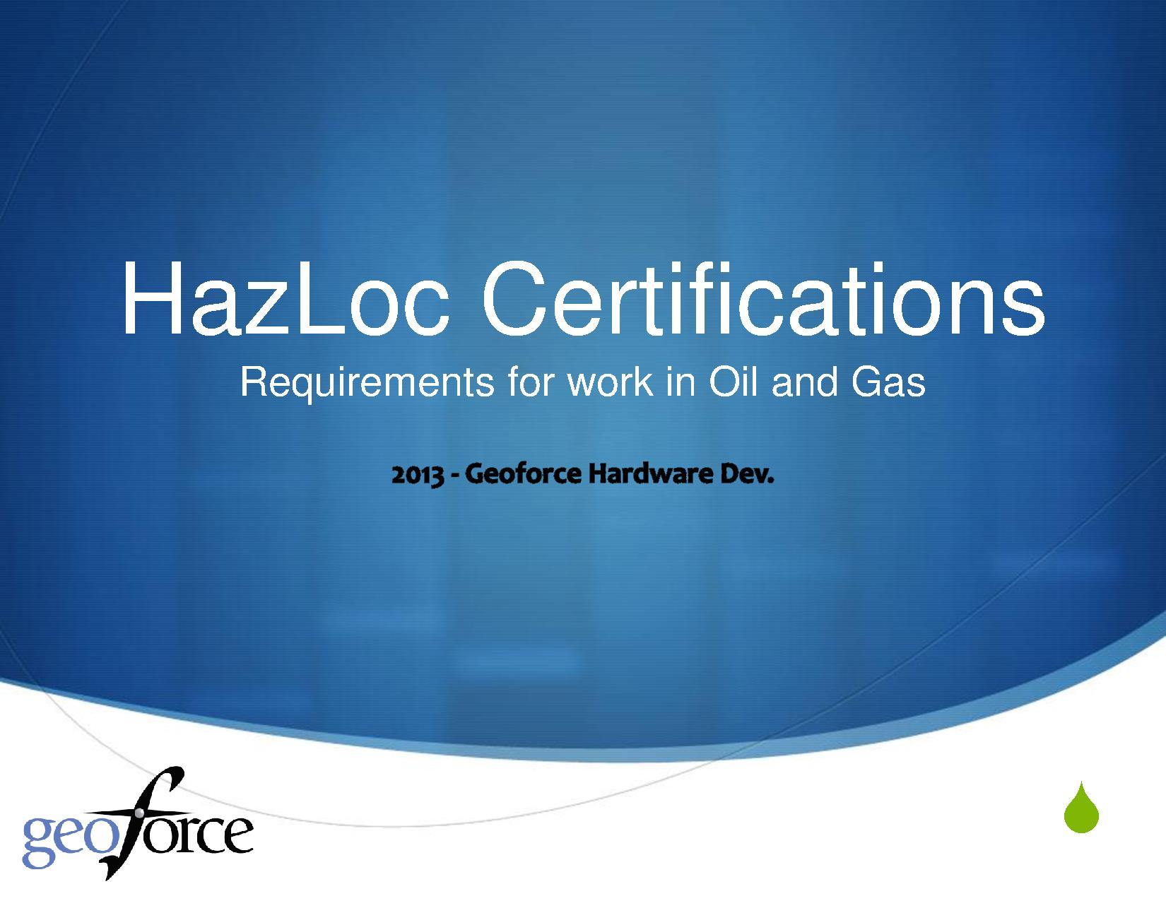 HazLoc Certifications 2013