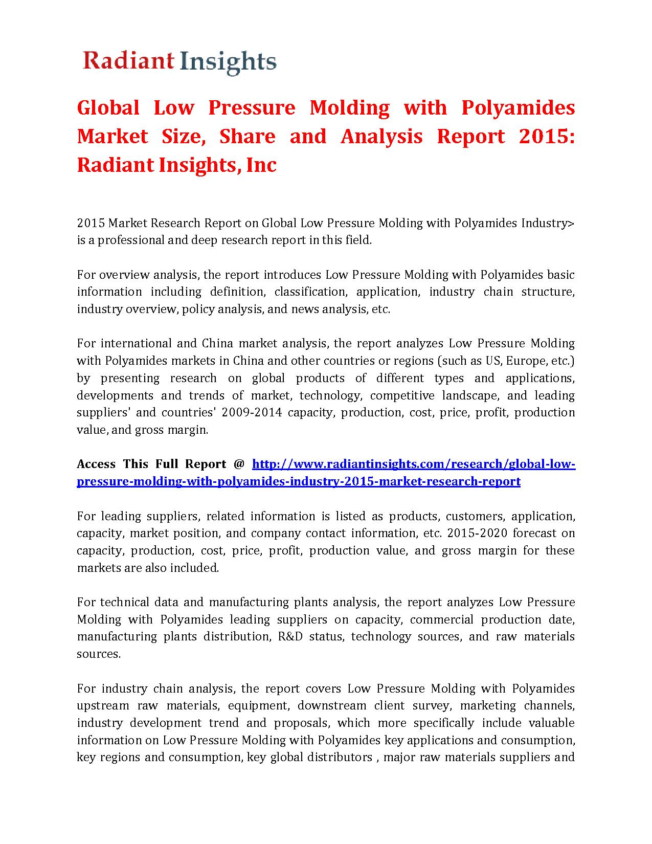 Global Low Pressure Molding with Polyamides Market Size