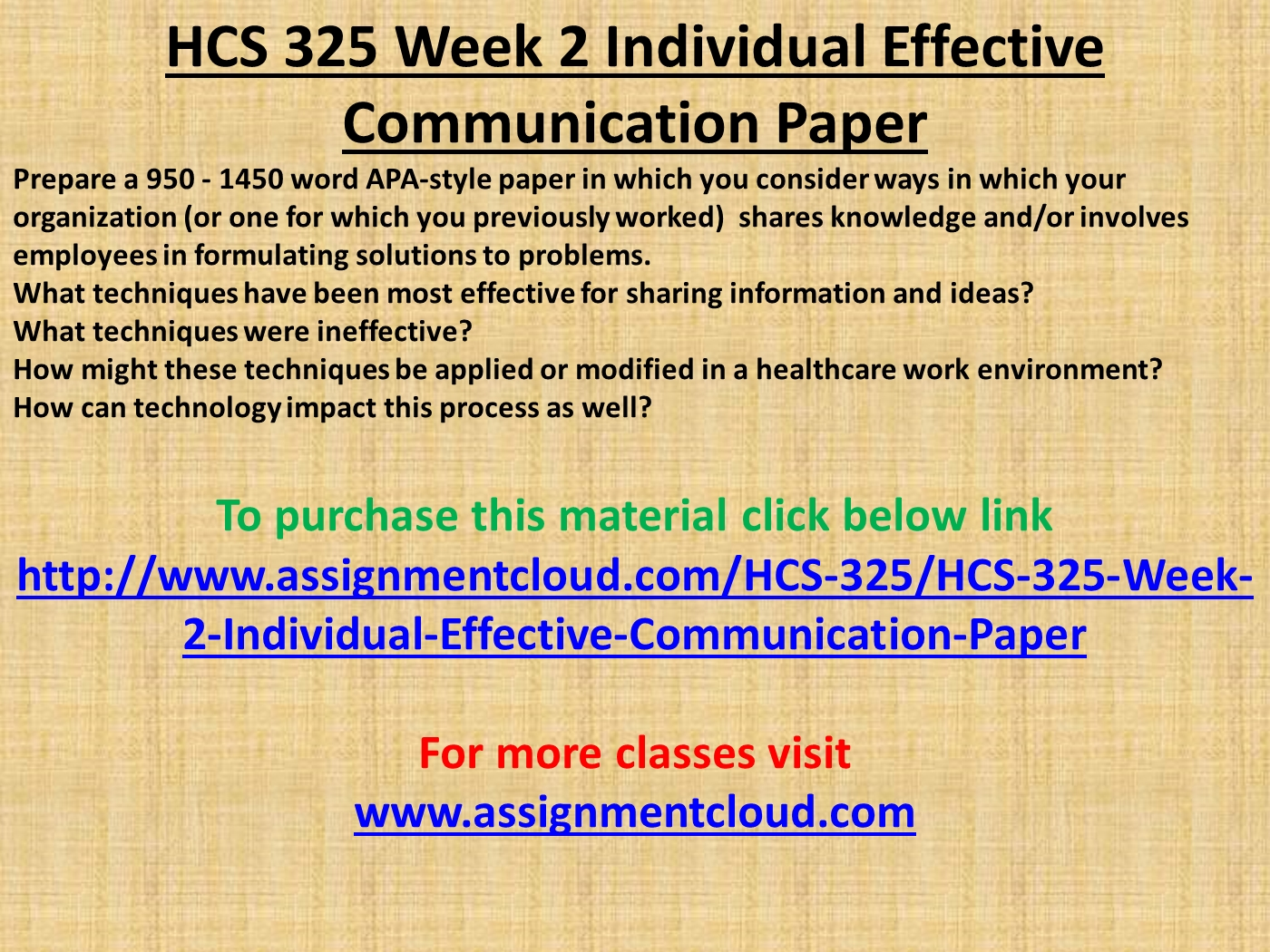 HCS  Week  Individual Effective Communication Paper PowerPoint Slide Big   Hcs  Week  Individual Effective Communication Paper