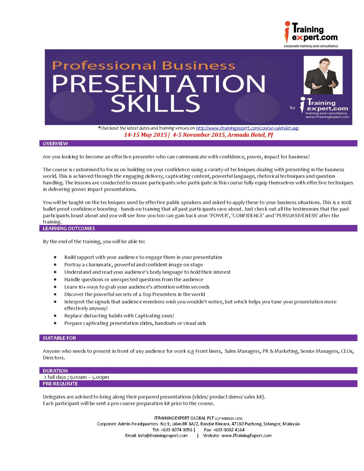 professional business presentation skills by itrainingexpert 2015 sm
