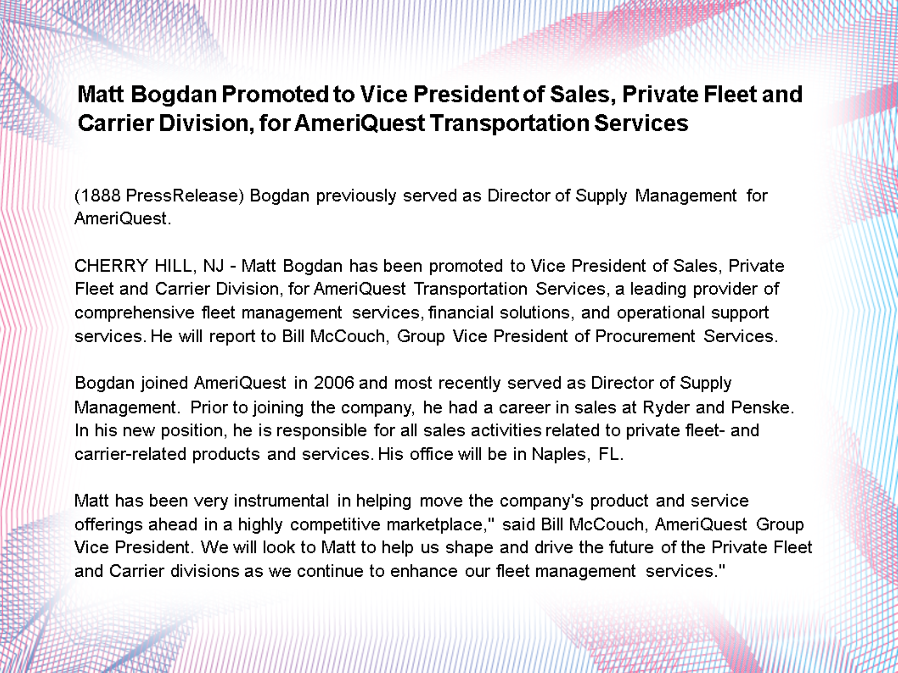 Matt Bogdan Promoted to Vice President of Sales, Private Fleet and Carrier Division