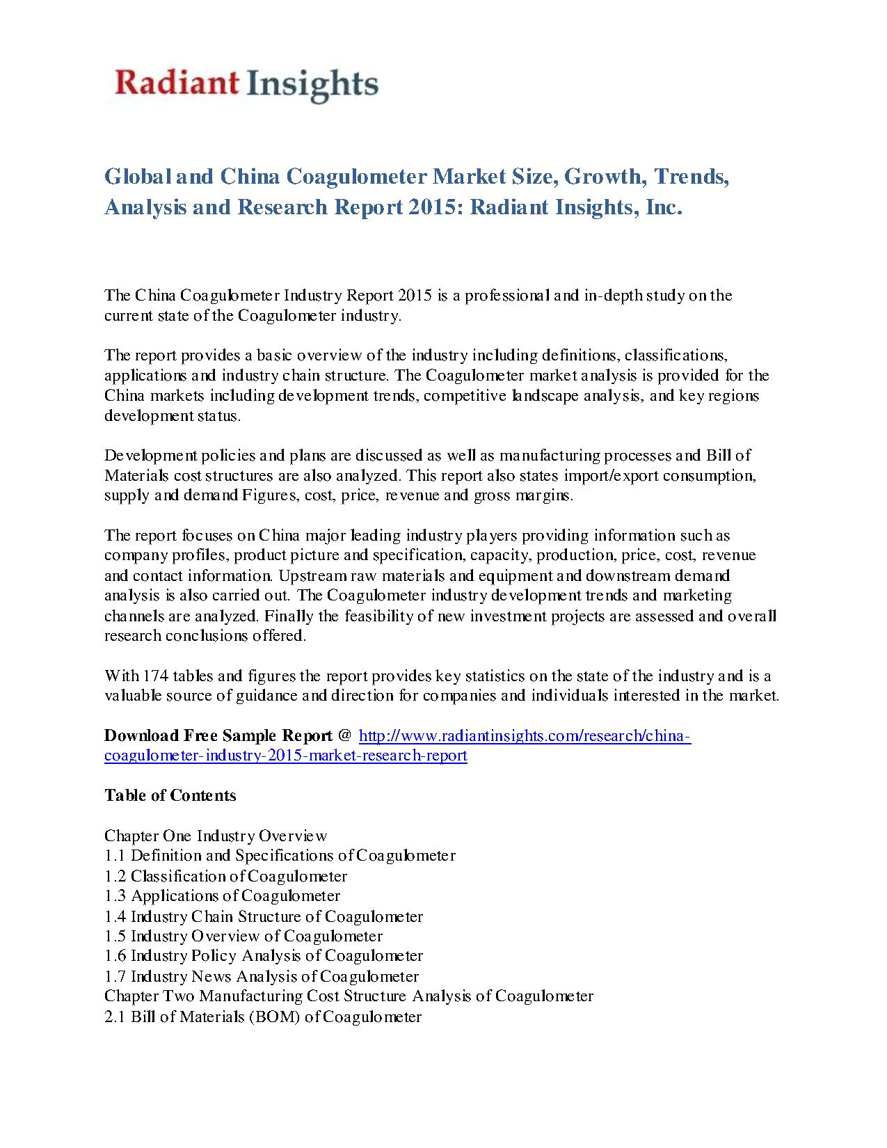 China Coagulometer Industry 2015 Market Research Report pdf