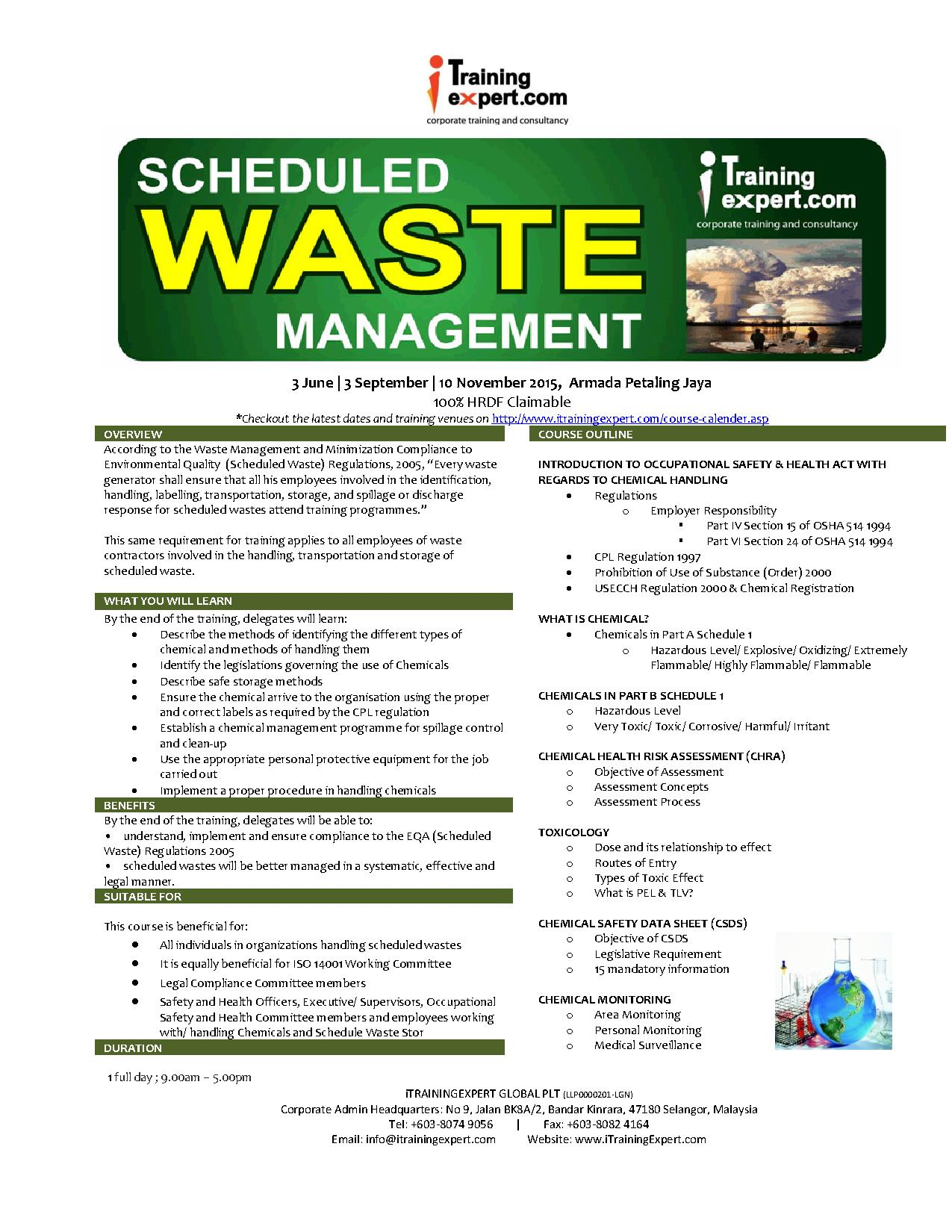 Scheduled and Chemical Waste Management Public Program Course ...