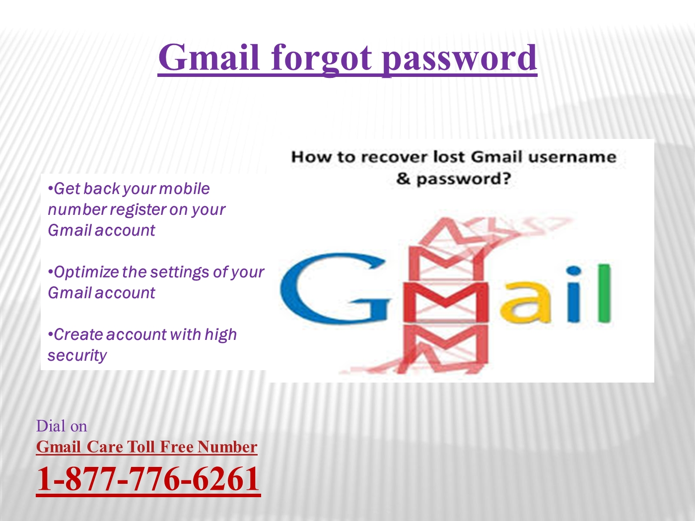 Trouble regarding Recover Gmail password call 1-877-776-6261 Gmail