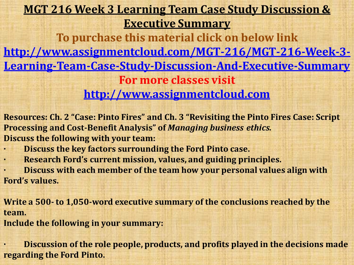 MGT 216 Week 3 Learning Team Case Study Discussion & Executive