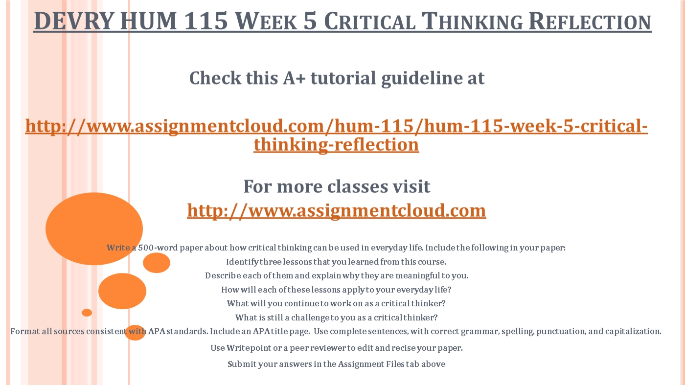 devry hum 115 week 5 critical thinking reflection ppt powerpoint